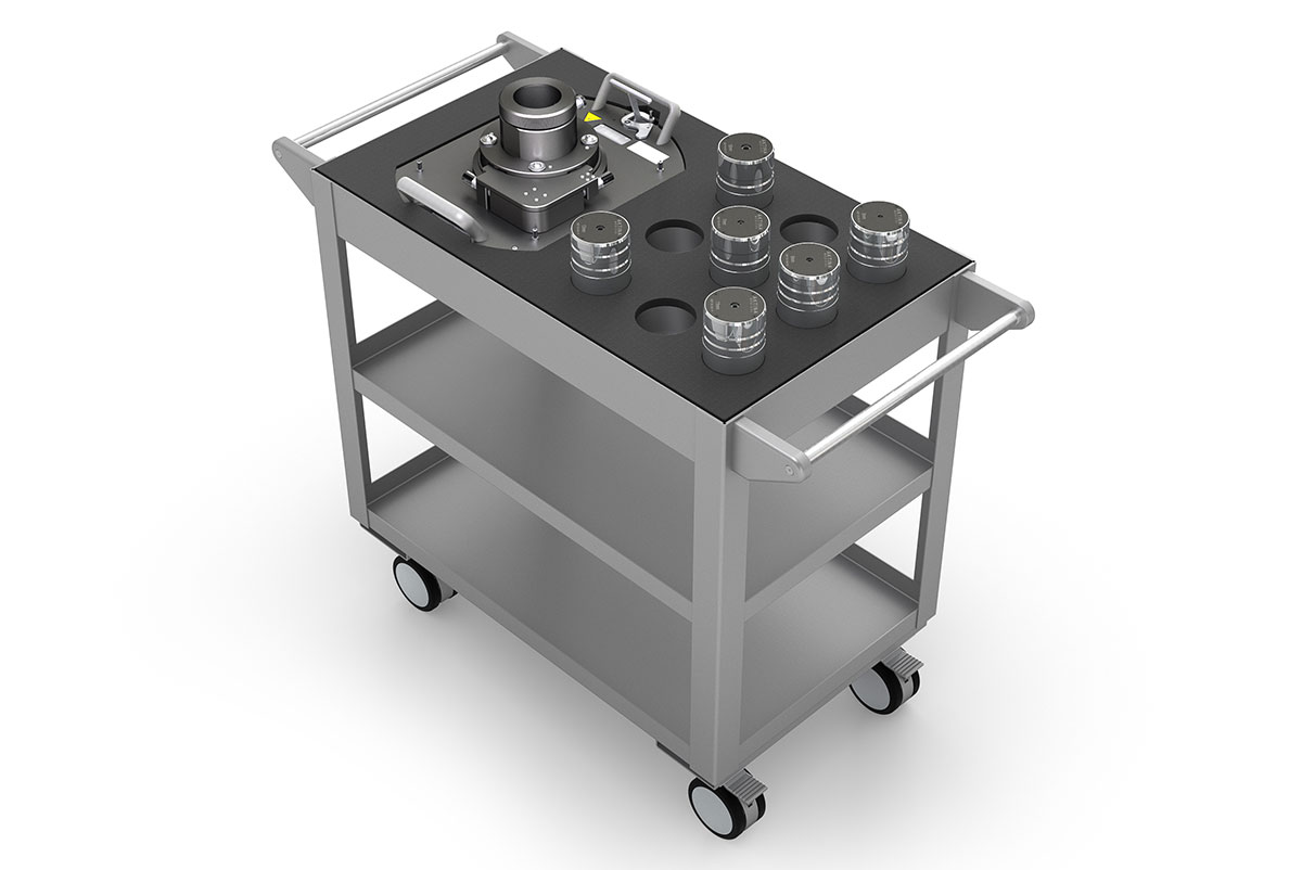 SRS Cone Adapter and Six Cone Inserts Shown within the Storage Cart