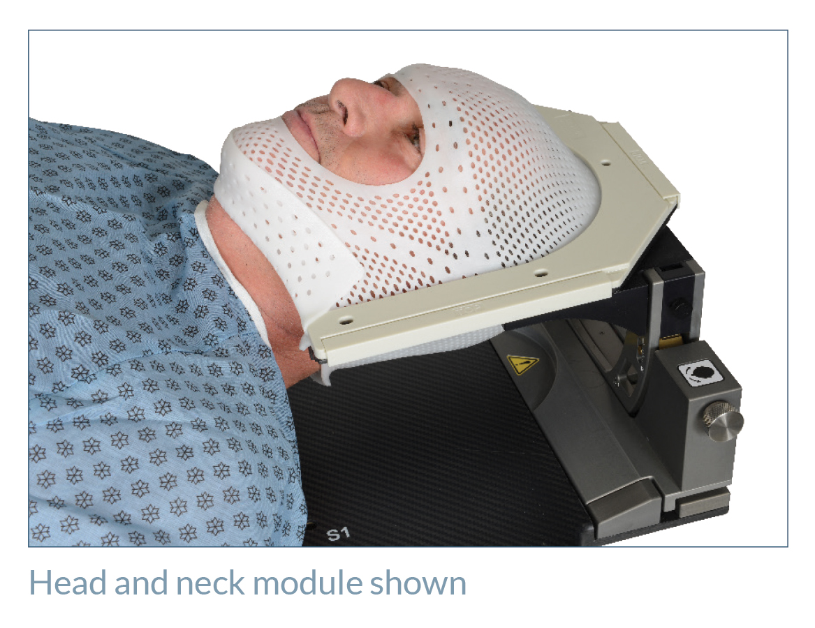 patient with thermoplastic in positionPRO head and neck support module